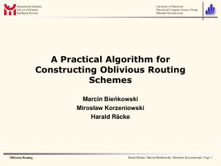 A Practical Algorithm for Constructing Oblivious Routing Schemes