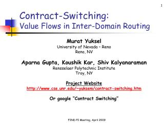 Contract-Switching:  Value Flows in Inter-Domain Routing