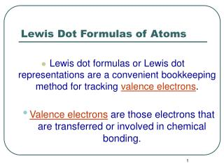 Lewis Dot Formulas of Atoms
