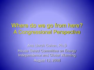 Where do we go from here? A Congressional Perspective