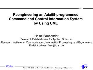 Reengineering an Ada95-programmed  Command and Control Information System  by Using UML