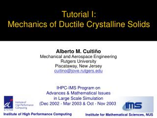 Tutorial I: Mechanics of Ductile Crystalline Solids