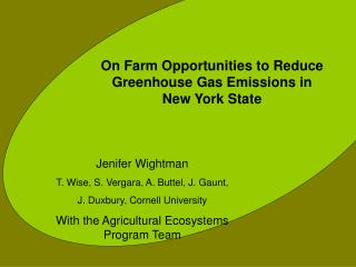 On Farm Opportunities to Reduce Greenhouse Gas Emissions in New York State