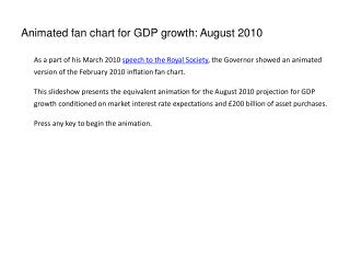 Animated fan chart for GDP growth: August 2010