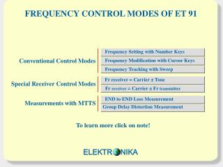 FREQUENCY CONTROL MODES OF ET 91
