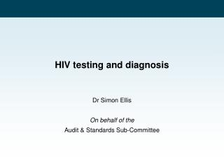 HIV testing and diagnosis