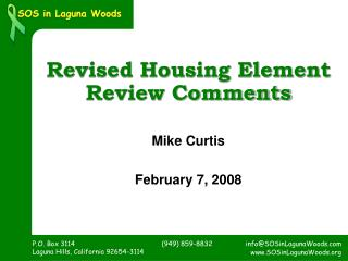 Revised Housing Element  Review Comments
