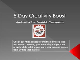 5-Day Creativity Boost developed by Karen Daniels  zencopy