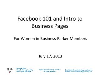 Facebook 101 and Intro to Business Pages
