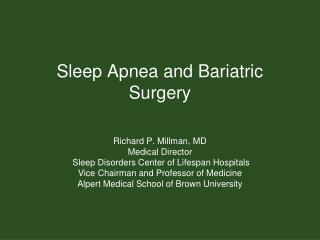 Sleep Apnea and Bariatric Surgery