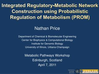 Nathan Price Department of Chemical & Biomolecular Engineering