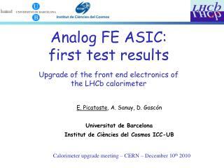 Calorimeter upgrade meeting – CERN – December 10 th  2010