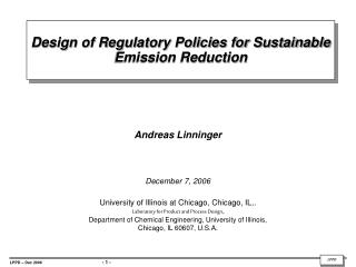 Design of Regulatory Policies for Sustainable Emission Reduction