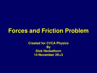 Forces and Friction Problem
