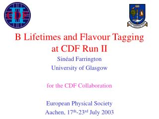 B Lifetimes and Flavour Tagging at CDF Run II
