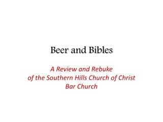 Beer and Bibles