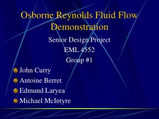 Osborne Reynolds Fluid Flow Demonstration