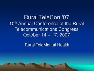 Rural TeleMental Health