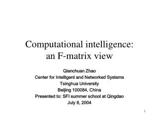 Computational intelligence:  an F-matrix view