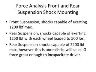 Force Analysis Front and Rear Suspension Shock Mounting