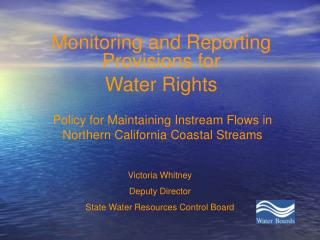Policy for Maintaining Instream Flows in Northern California Coastal Streams