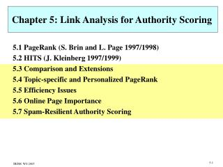 Chapter 5: Link Analysis for Authority Scoring