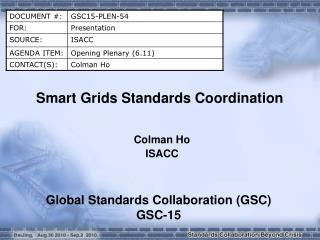 Smart Grids Standards Coordination