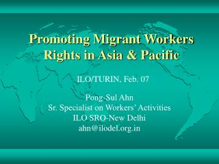 Promoting Migrant Workers Rights in Asia & Pacific