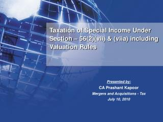 Taxation of Special Income Under Section   562vii  viia including Valuation Rules