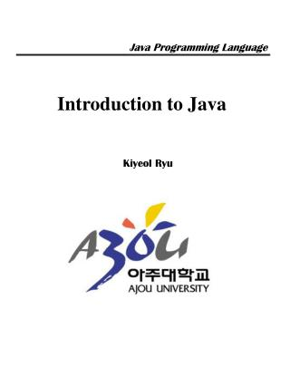 Introduction to Java