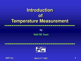 Introduction  of  Temperature Measurement