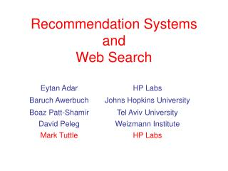 Recommendation Systems and Web Search