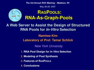 R AG P OOLS :   RNA-As-Graph-Pools A Web Server to Assist the Design of Structured RNA Pools for  In-Vitro  Selection