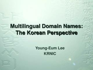 Multilingual Domain Names: The Korean Perspective