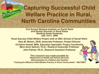 Capturing Successful Child Welfare Practice in Rural, North Carolina Communities