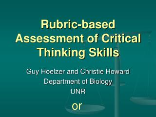 Rubric-based Assessment of Critical Thinking Skills