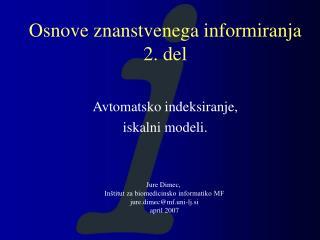 Osnove znanstvenega informiranja 2. del