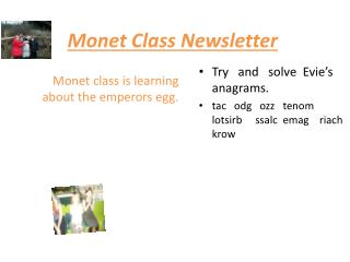 Monet C lass Newsletter