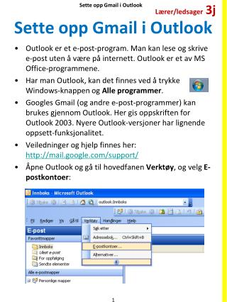 Sette opp  Gmail  i Outlook