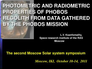 Moscow, IKI,  October 10-14,  2011
