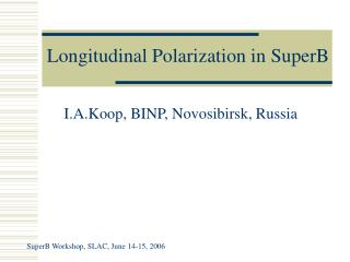 Longitudinal Polarization in SuperB