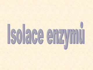 Isolace enzym?