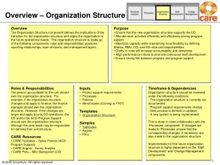 Overview – Organization Structure