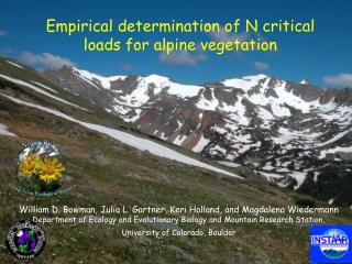 Empirical determination of N critical loads for alpine vegetation