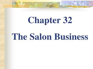Chapter 32 The Salon Business
