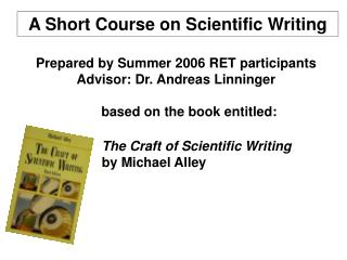 A Short Course on Scientific Writing