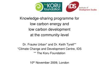 Knowledge-sharing programme for  low carbon energy and  low carbon development