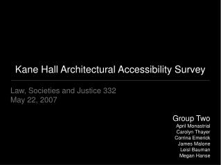 Kane Hall Architectural Accessibility Survey