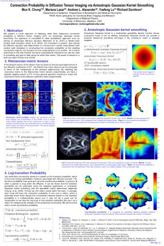 Connection Probability in Diffusion Tensor Imaging via Anisotropic Gaussian Kernel Smoothing