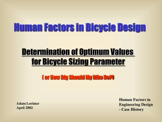 Human Factors in Bicycle Design